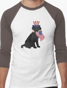 Preppy Patriotic Black Lab Men's Baseball ¾ T-Shirt