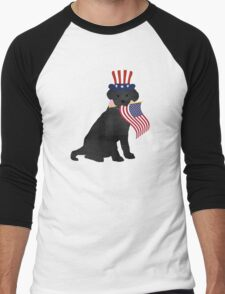 Preppy Patriotic Black Lab Men's Baseball ¾ T-Shirt