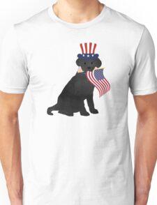 Preppy Patriotic Black Lab Unisex T-Shirt