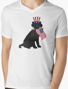 Preppy Patriotic Black Lab Mens V-Neck T-Shirt