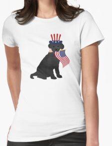 Preppy Patriotic Black Lab Womens Fitted T-Shirt