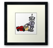 Funny Cool Robot Mowing Lawn Framed Print
