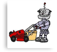 Funny Cool Robot Mowing Lawn Canvas Print