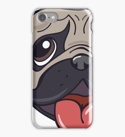 Cartoon pug dog head print iPhone Case/Skin