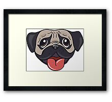 Cartoon pug dog head print Framed Print