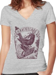 The Grackelope (maroon) Women's Fitted V-Neck T-Shirt