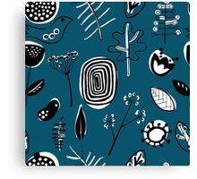 Floral doodle seamless nature pattern print on blue Canvas Print