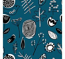 Floral doodle seamless nature pattern print on blue Photographic Print
