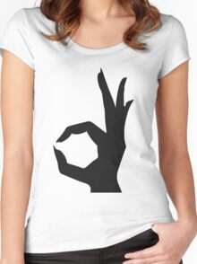 Rocket Bunny - White stroked Black Logo Women's Fitted Scoop T-Shirt