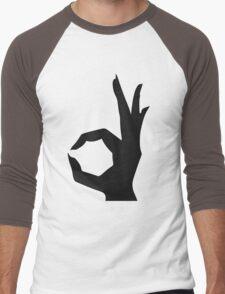 Rocket Bunny - White stroked Black Logo Men's Baseball ¾ T-Shirt