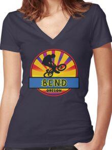 MOUNTAIN BIKE BEND OREGON BIKING MOUNTAINS Women's Fitted V-Neck T-Shirt