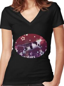 Cat to the Stars! (Pink version) Women's Fitted V-Neck T-Shirt