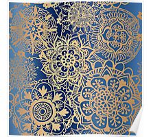 Blue and Gold Mandala Pattern Poster