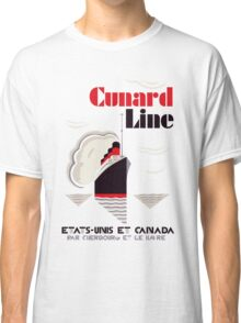 Art deco retro vintage style Cunard Line France USA Canada Classic T-Shirt