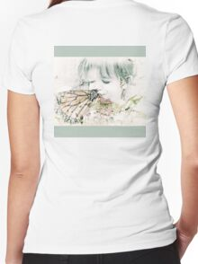 Butterfly Kisses- Sage Green Border Women's Fitted V-Neck T-Shirt