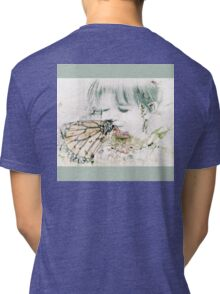 Butterfly Kisses- Sage Green Border Tri-blend T-Shirt