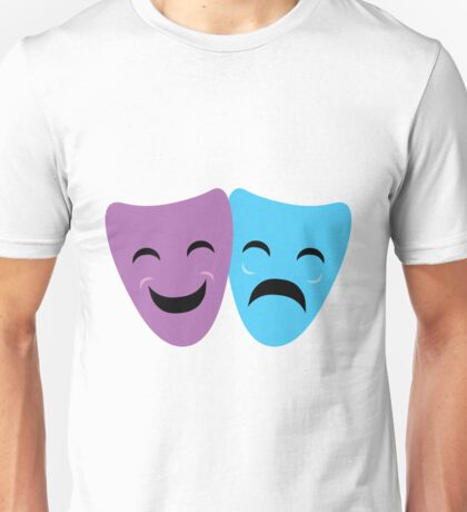 Blue and Purple Comedy and Tragedy Drama Masks Unisex T-Shirt