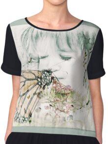 Butterfly Kisses- Sage Green Border Chiffon Top