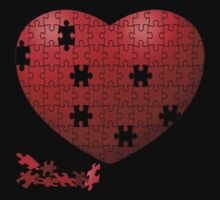 Puzzle Heart in pieces, missing some pieces to complete Baby Tee