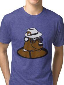 loch floor dj party music funky cool glasses hat headphones club ties comic cartoon bear Tri-blend T-Shirt