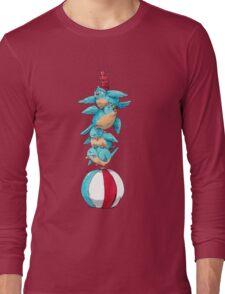 Blue Birds Balancing Boiling Beverages on a Beach Ball Long Sleeve T-Shirt