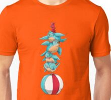 Blue Birds Balancing Boiling Beverages on a Beach Ball Unisex T-Shirt