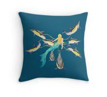 Mermaid with Common Dolphins / Meerjungfrau mit Gemeinen Delfinen Throw Pillow