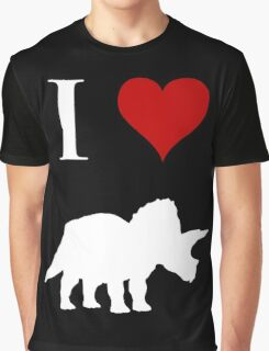 I Love Dinosaurs - Triceratops (white design) Graphic T-Shirt