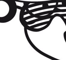 loch floor dj party music funky cool glasses hat headphones club ties comic cartoon bear Sticker