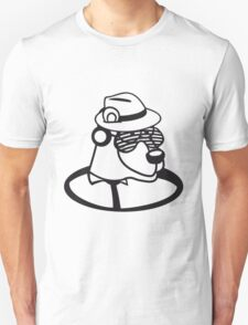 loch floor dj party music funky cool glasses hat headphones club ties comic cartoon bear Unisex T-Shirt