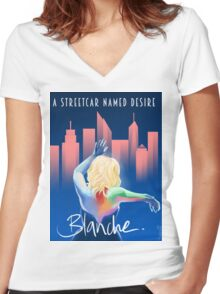 Blanche - NYC Women's Fitted V-Neck T-Shirt
