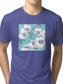 Floral Abstract-Aqua and White Tri-blend T-Shirt