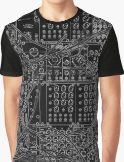 Analog Synthesizer - Modular Design - on black background Graphic T-Shirt