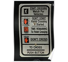 Crosswalk Instruction Sign Poster
