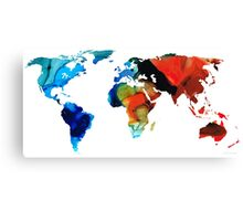 Map of The World 3 -Colorful Abstract Art Canvas Print