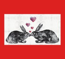 Bunny Rabbit Art - Hopped Up On Love 2 - By Sharon Cummings One Piece - Short Sleeve