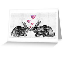 Bunny Rabbit Art - Hopped Up On Love 2 - By Sharon Cummings Greeting Card