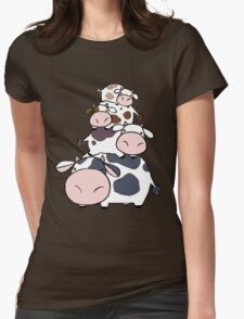 Cow Stack Womens Fitted T-Shirt