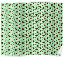 Red Panda Apple Cherry Pattern Poster