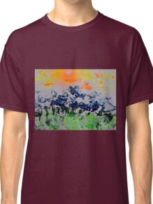 Sun over snow clad mountains Classic T-Shirt