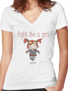 Fight Like a Girl | Robot Maker Women's Fitted V-Neck T-Shirt