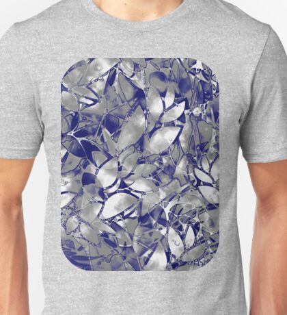 Grunge Art Silver Floral Abstract Unisex T-Shirt
