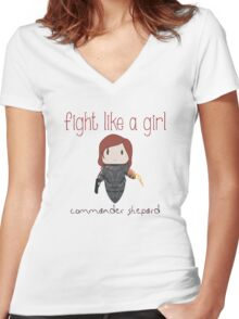 Fight Like a Girl - The Commander Women's Fitted V-Neck T-Shirt