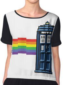 Rainbow Tardis Chiffon Top