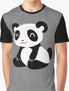 Happy Cartoon Panda Graphic T-Shirt