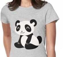 Happy Cartoon Panda Womens Fitted T-Shirt