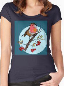 Robin bird illustration print Women's Fitted Scoop T-Shirt