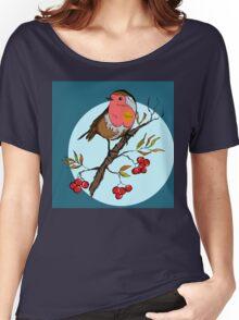 Robin bird illustration print Women's Relaxed Fit T-Shirt