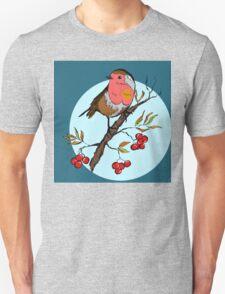 Robin bird illustration print Unisex T-Shirt