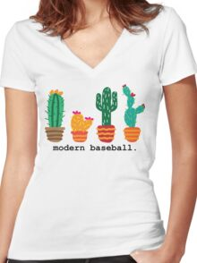 MoBo Cacti Women's Fitted V-Neck T-Shirt
